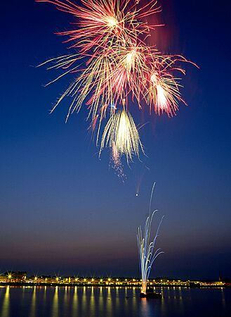 'Fireworks in Weymouth Bay' - an enlargement of this landscape photograph